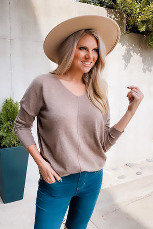 Make Time For You V Neck Sweater : Mocha
