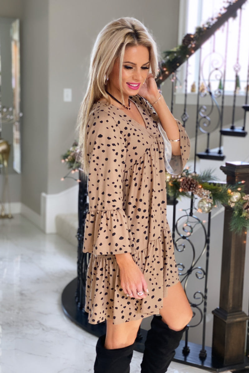 Getting Closer To You Leopard Ruffle Dress : Camel