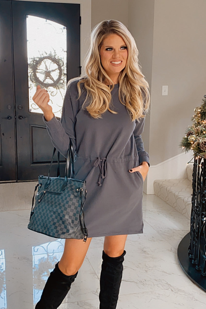 Timeless & True Drawstring Waist Knit Dress : Charcoal