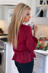 Downright Darling Satin Blouse : Burgundy