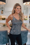 The Edge Of Love Sequins V-Neck Tank : Black/Silver