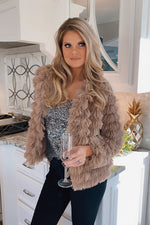 Midnight Stardust Layered Faux Fur Jacket : Mocha