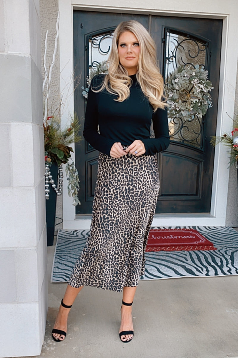 Liverpool Bella Leopard Flare Hem Midi Skirt : Brown