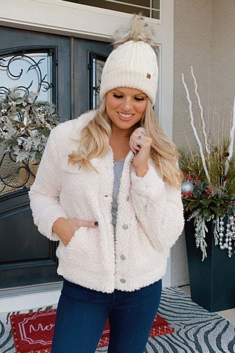 Cozy Memories Sherpa Button Down Jacket : Ivory
