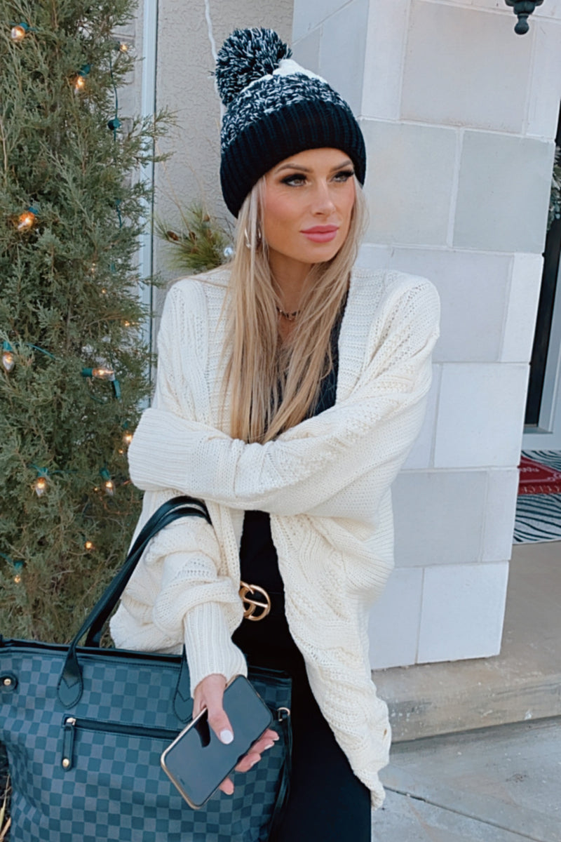 Chase That Feeling Cable Knit Cardigan : Ivory