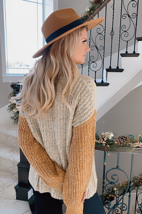 Don't Bother Me Turtle Neck Sweater : Taupe/Mustard