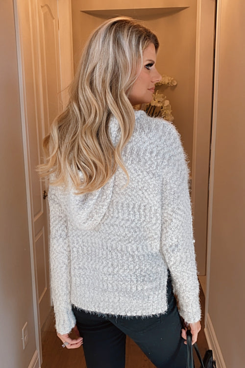 Casual Evenings Pom Pom String Hoodie Sweater : Grey/Ivory
