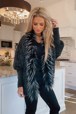 Casual Romance Fur Lined Knit Cardigan : Black