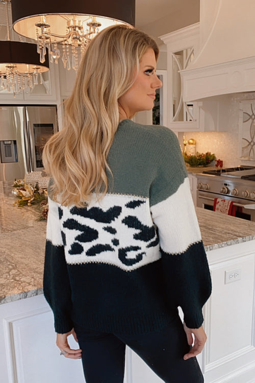 Are You Serious Leopard Color Block Sweater : Olive/Black