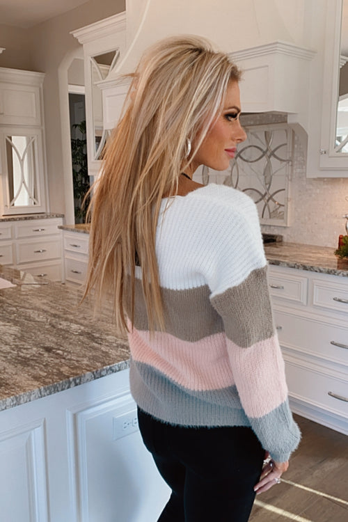 Chilled Out Color Block Sweater : Pink/Taupe