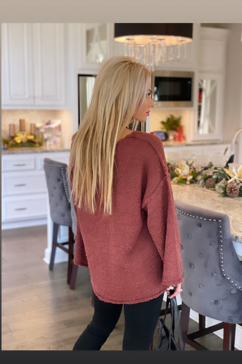 Plan On This Knit Bell Sleeve Sweater : Burgundy