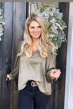 New Traditions Satin V-Neck Blouse : Olive