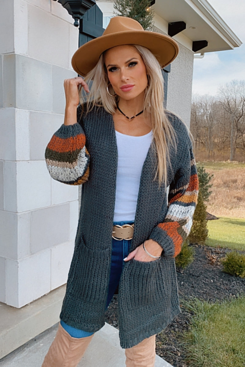 Bundled By The Fire Knit Bubble Sleeve Cardigan : Charcoal