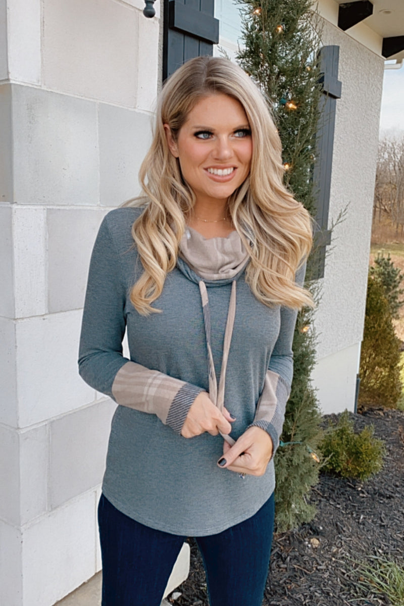 Sharing Secrets Cowl Neck Hoodie Pullover : Grey/Taupe