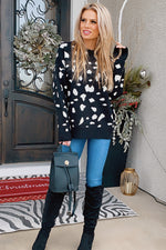 Wild Feeling Animal Print Sweater : Black