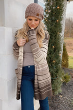 A Peaceful Place Striped Pocket Cardigan : Oatmeal/Brown