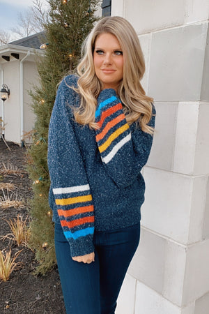 Doing The Most Bubble Sleeve Striped Sweater : Navy