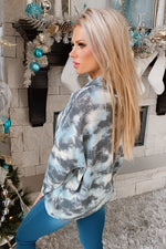 Just The Usual Tie Dye Cowl Neck Pullover : Teal/Charcoal