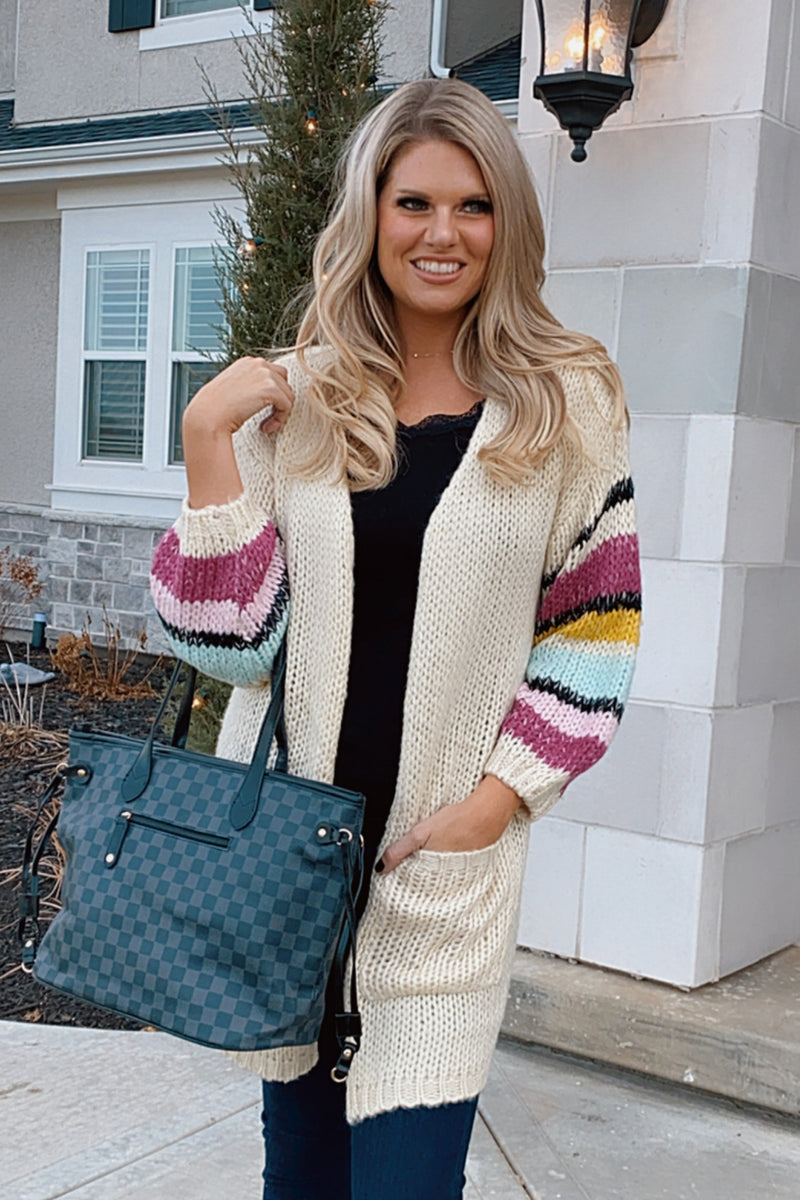 Bundled By The Fire Knit Bubble Sleeve Cardigan : Ivory