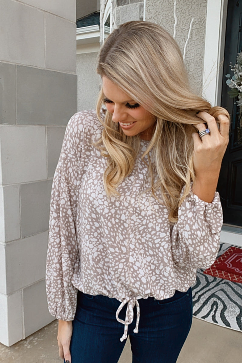 More To Say Leopard Print Bottom Tie Top : Taupe