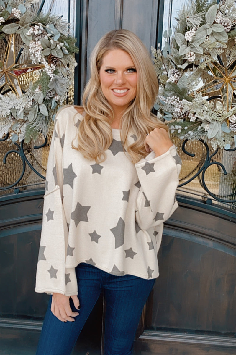 Our Love Story Star Print Sweater : Olive/Ivory