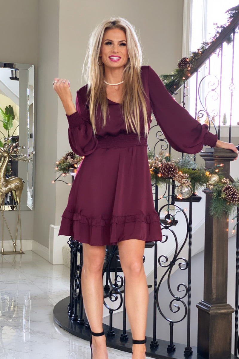 Cheers To Tonight Smocked Waist Satin Dress : Wine