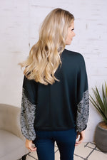 Early Hours Leopard Dolman Sleeve Pullover Top : Black