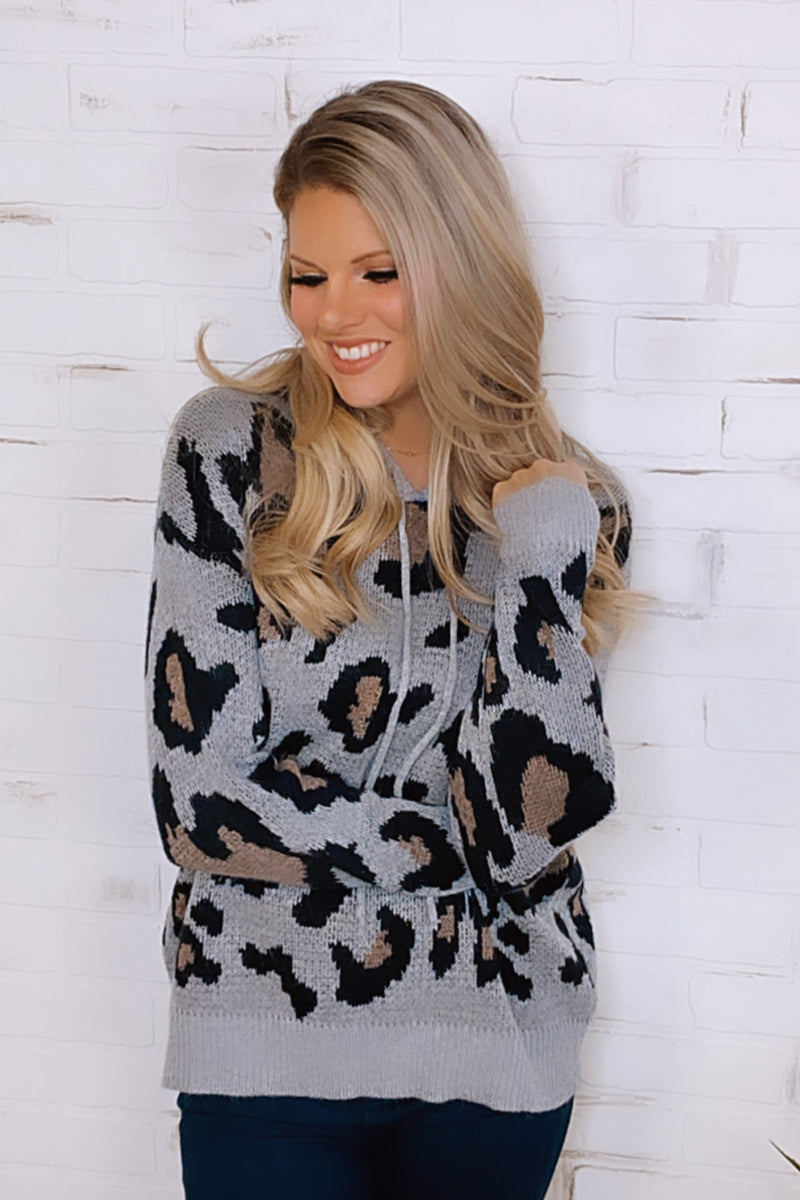 Forgetful Heart Leopard Draw String Hoodie : Grey