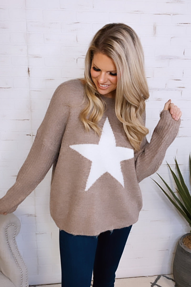 Born A Star Knit Sweater : Mocha