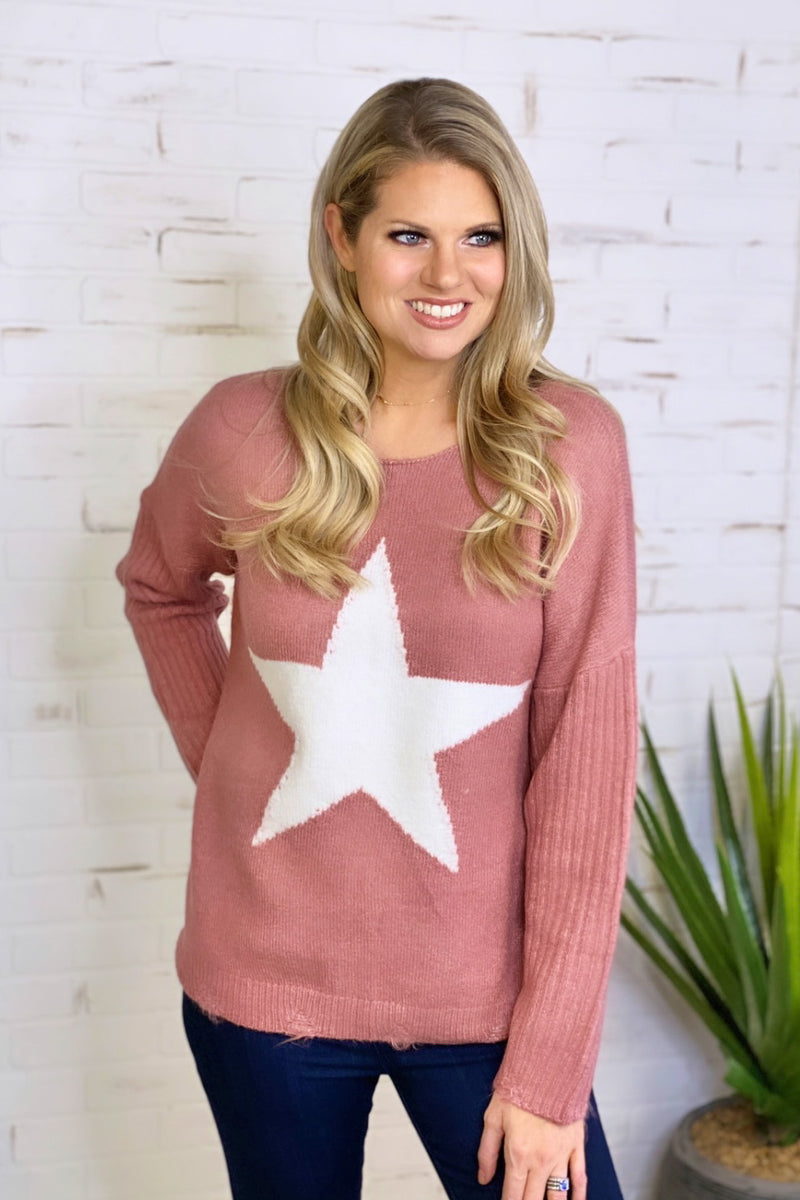 Born A Star Knit Sweater : Pink
