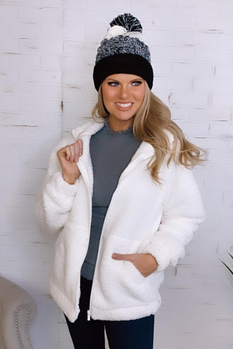Cuddle Weather Sherpa Zip Up Jacket : Ivory