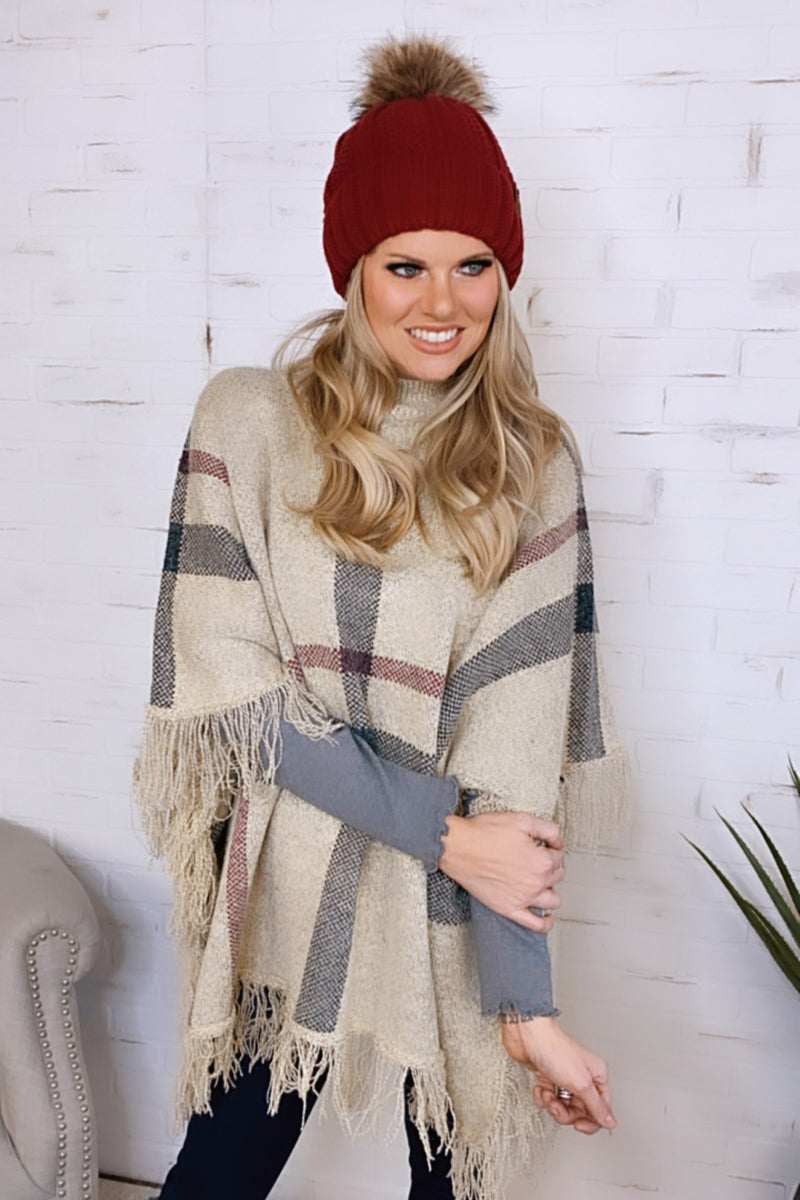 Admired By You Mocked Neck Plaid Poncho : Oatmeal