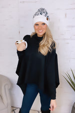 True To You Turtle Neck Knit Sweater Poncho : Black