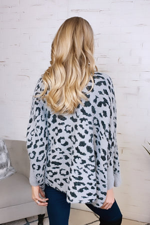 Forget Your Worries Leopard Print Cardigan : Grey