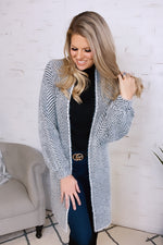 Believing In Forever Herring Bone Cardigan : Black/Ivory