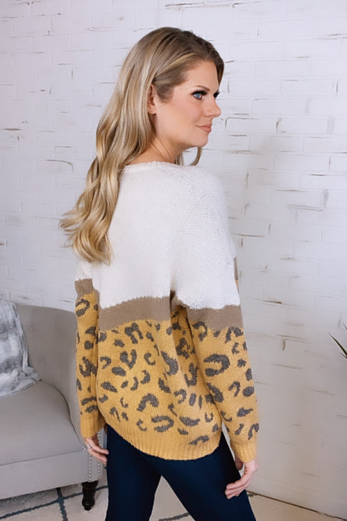 Calling You Mine Leopard Print Sweater : Mustard/Ivory
