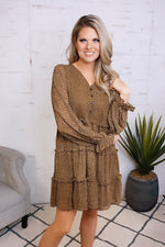Show Your Heart Leopard Button Ruffle Dress : Taupe