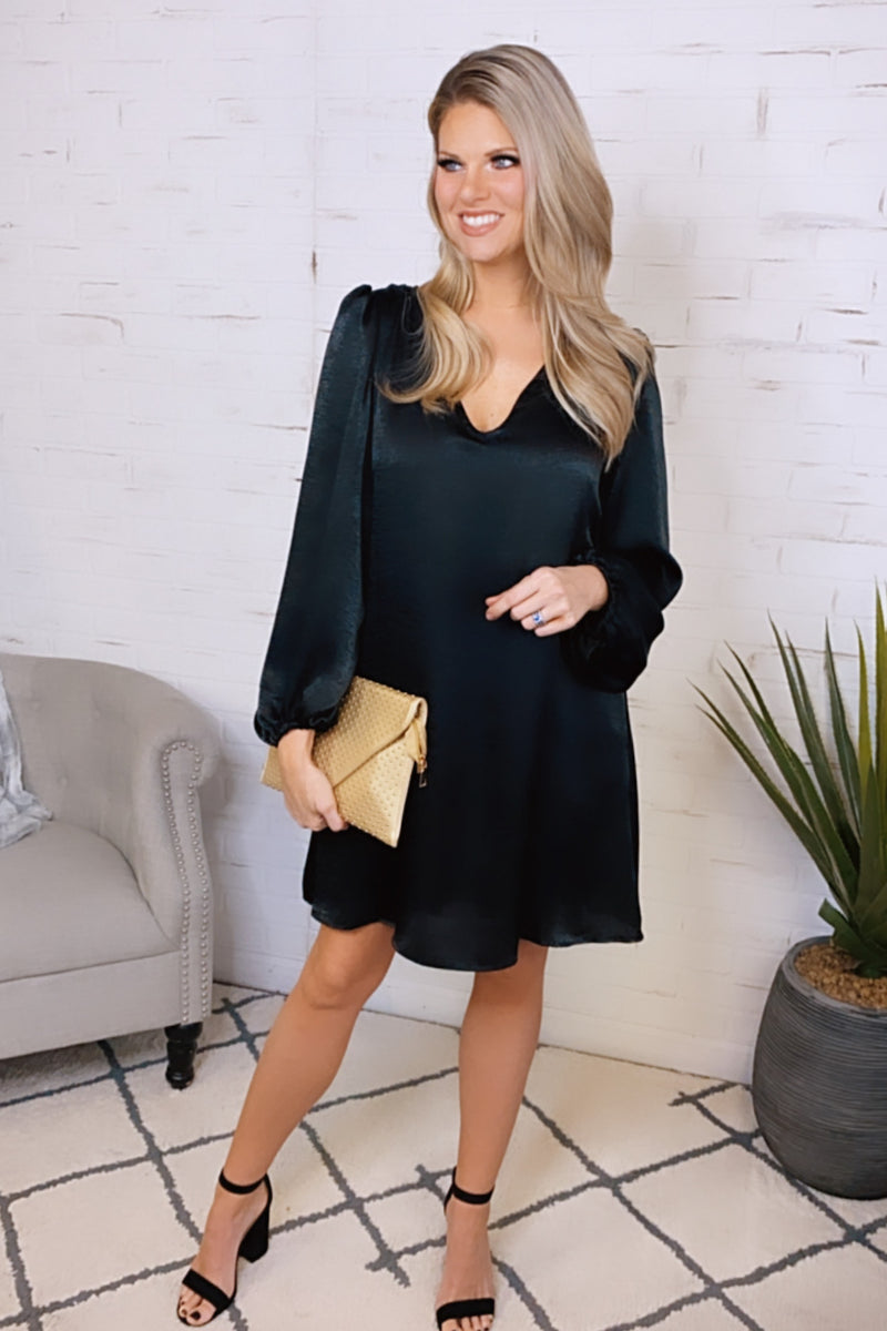 Down For Love Satin V-Neck Dress : Black