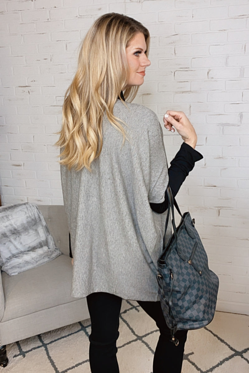 Keep You Waiting Twisted Tunic Top : Grey