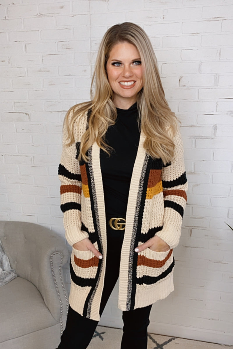 Never Miss A Beat Stripe Knit Cardigan : Cream/Black/Rust