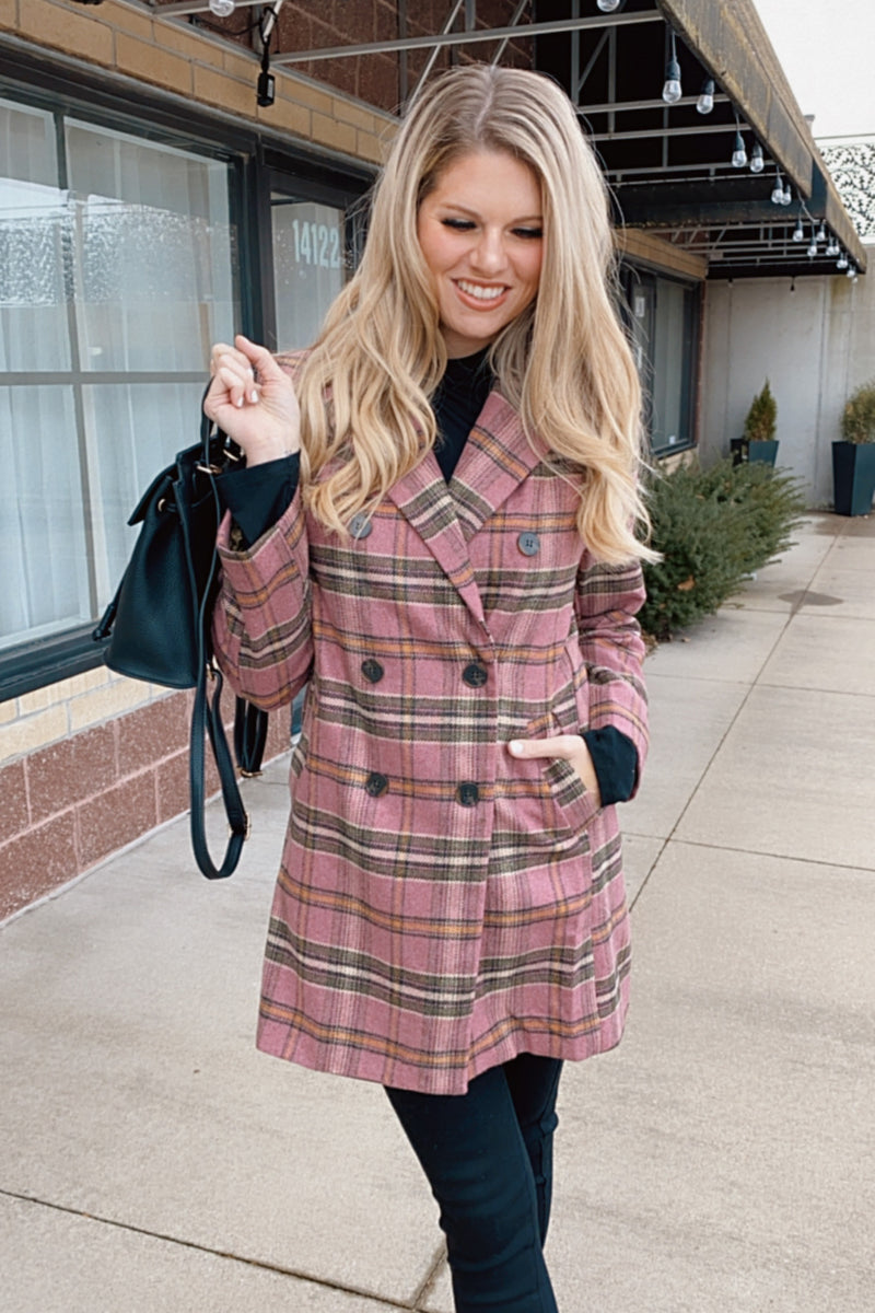 Emily in Paris Plaid Print Midi Length Coat : Pink