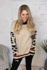 Story Of My Life Leopard Sleeve Sweater : Taupe/Black