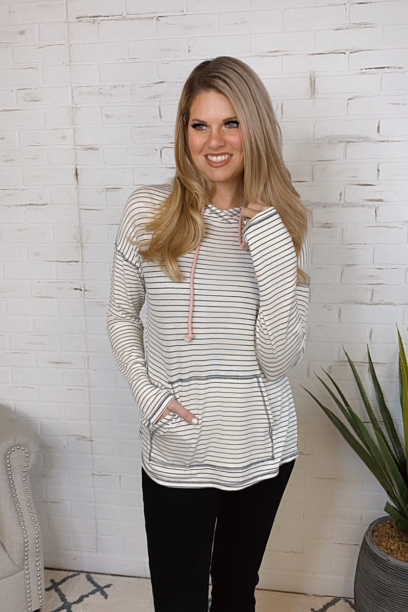 Love You Like I Do Stripe Tie Knit Hoodie : Ivory/Black/Pink