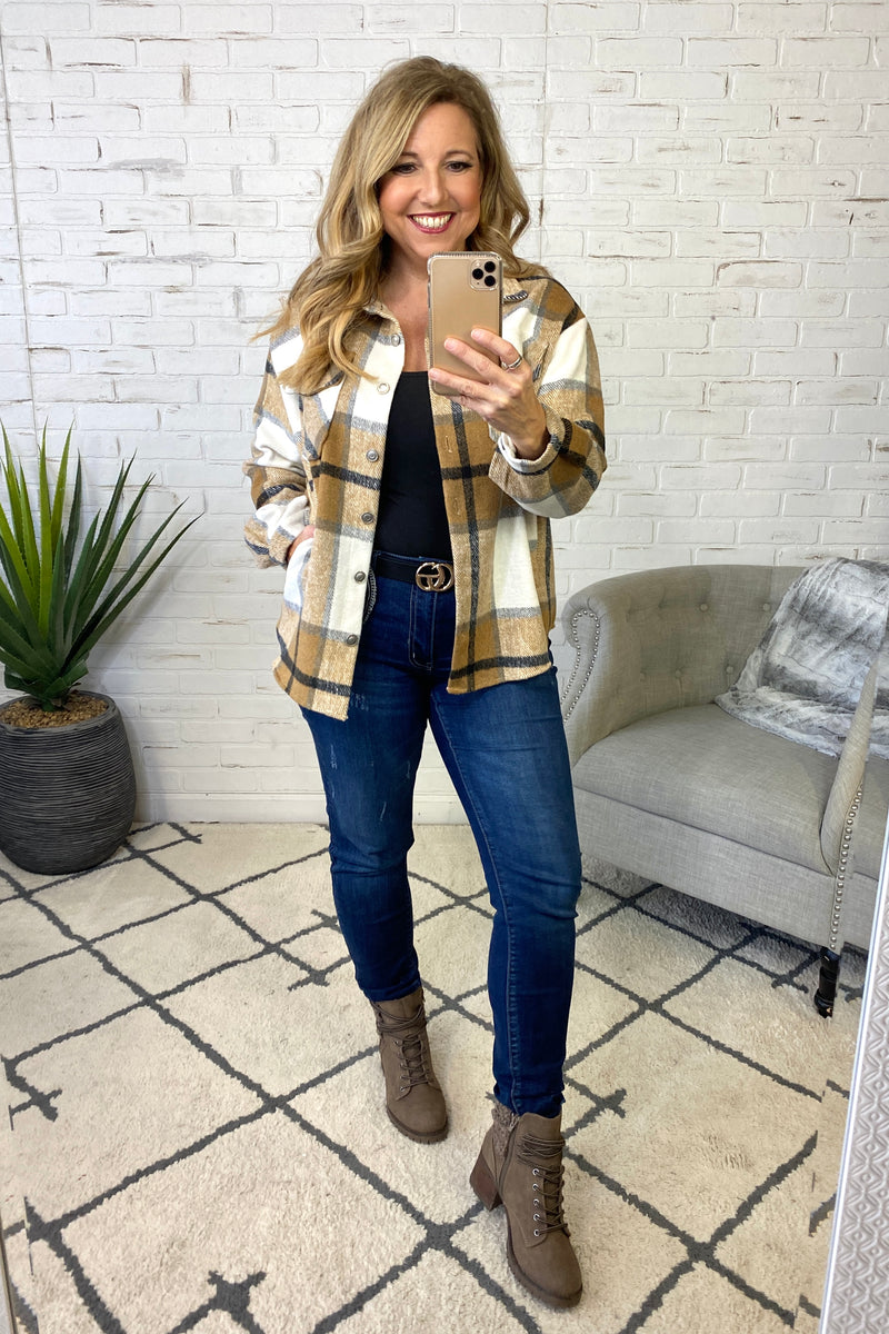 Countdown The Hours Plaid Shirt Jacket : Camel