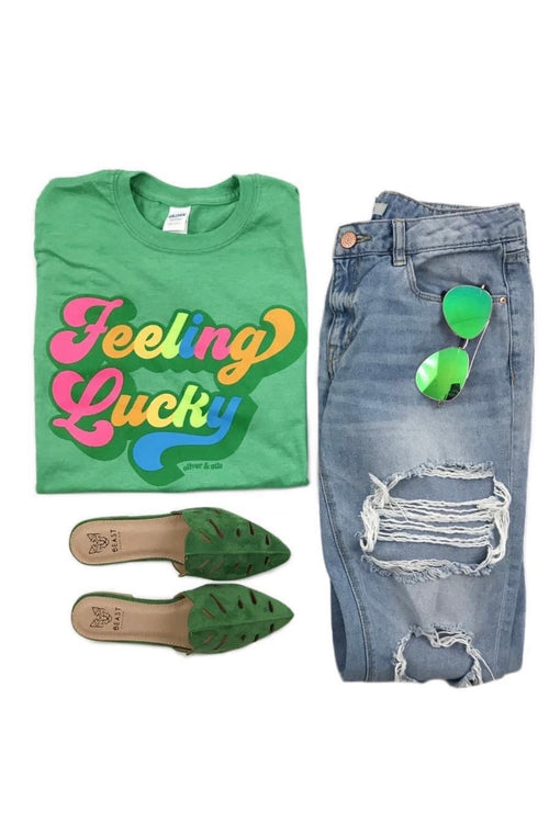 Feeling Lucky Graphic T-Shirt : Green