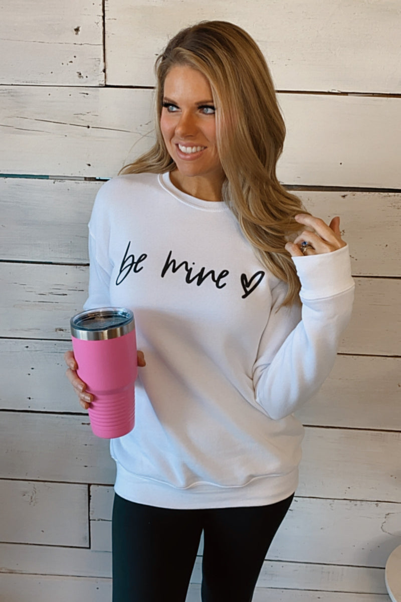 Be Mine Graphic Crew Neck Pullover : White