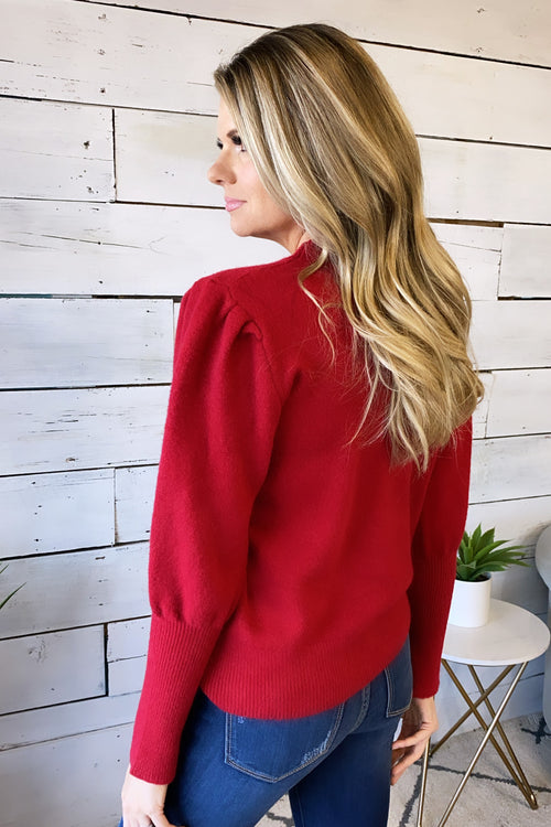 With You Again Round Neck Sweater : Red