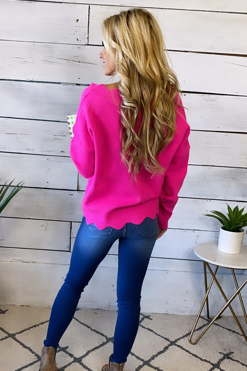 My Dearest Darling Scalloped V-Neck Sweater : Hot Pink