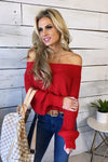 Your Lovely Soul Off Shoulder Knit Sweater : Red