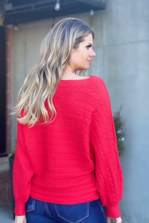 Love Is In The Air Cable Knit Sweater : Red